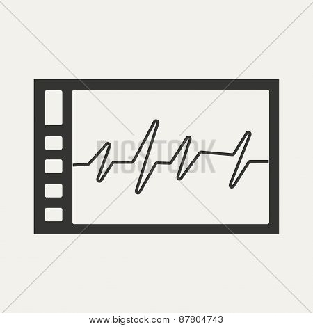 Flat in black and white mobile application cardiogram