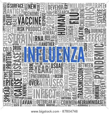 Close up INFLUENZA Text at the Center of Word Tag Cloud on White Background.