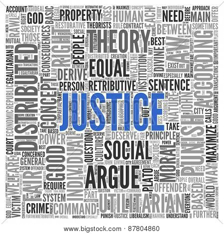 Close up JUSTICE Text at the Center of Word Tag Cloud on White Background.