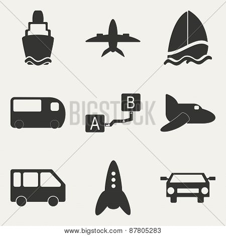 Flat in black and white concept mobile application trasports icons