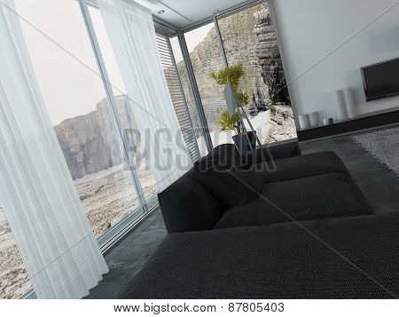 Interior of Modern Living Room with Black Furniture and Large Windows with View of Cliff Landscape. 3d Rendering.