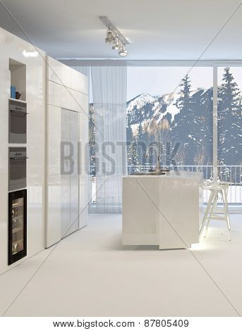 Clean Modern White Kitchen with Island and View of Snowy Mountain Landscape. 3d Rendering.