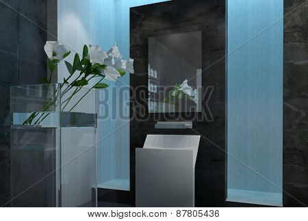 Modern design luxury bathroom interior. 3d Rendering.