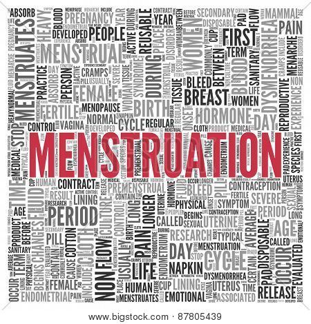 Close up Red MENSTRUATION Text at the Center of Word Tag Cloud on White Background.