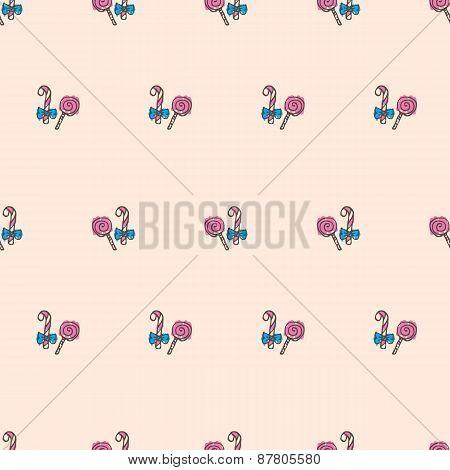 Vector hand drawn lollipop seamless pattern