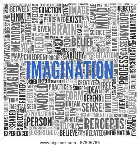 Close up IMAGINATION Text at the Center of Word Tag Cloud on White Background.