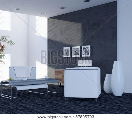 Modern elegant living room interior with two contemporary chairs and large windows. 3d Rendering.