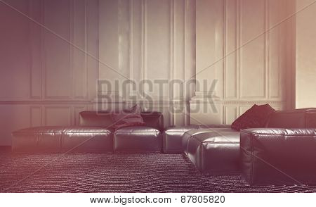 Faded effect living room interior with a comfortable leather modular lounge suite with sofas and settees against a wall with white wood paneling and wainscoting. 3d Rendering.