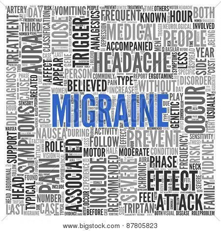 Close up Blue MIGRAINE Text at the Center of Word Tag Cloud on White Background.