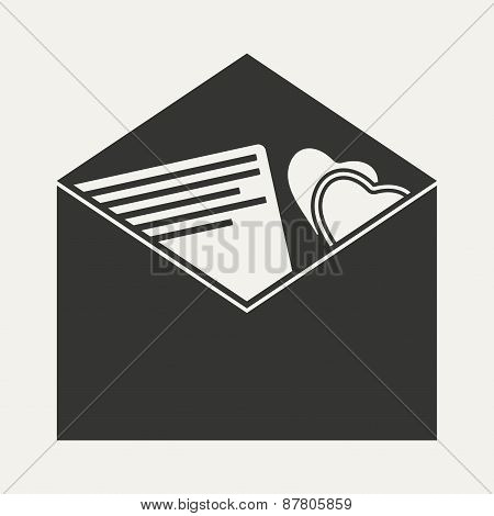 Flat in black and white mobile application invitation envelope