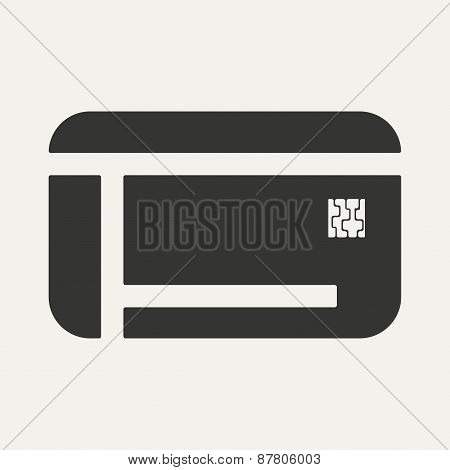 Flat in black and white mobile application chip card