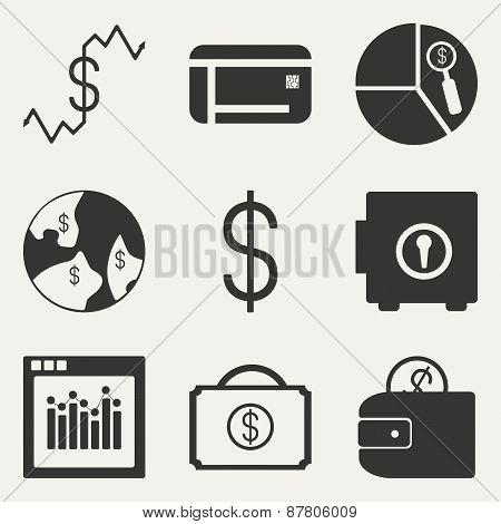 Flat in black and white concept mobile application economics icons