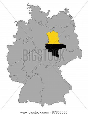 Map Of Germany With Flag Of Saxony-anhalt