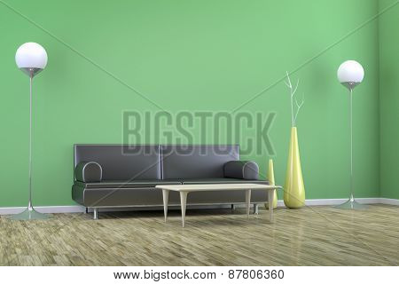 3D rendering of a green room with a sofa and background for your own content