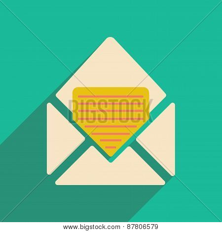 Flat with shadow icon and mobile applacation envelope document