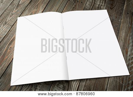 Blank catalog, magazines,book mock up on wood background ( with 4 layer clipping path : Right page,left page,Clip1,Clip2)