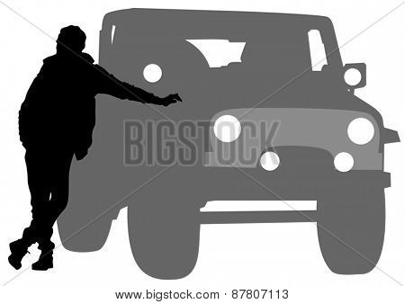 Man at door of car on a white background