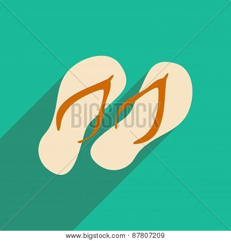 Flat with shadow icon and mobile applacation flip flops