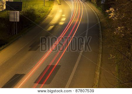 Abstract photo with the light trails in Mikulov - Czech Republic