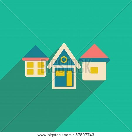 Flat with shadow icon and mobile applacation houses