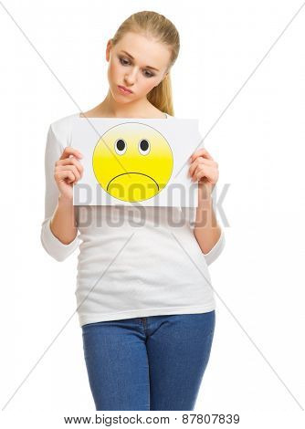 Young woman with sad banner isolated