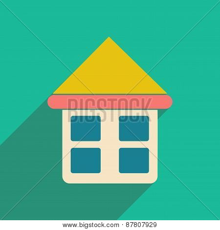Flat with shadow icon and mobile applacation house