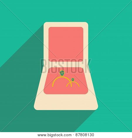 Flat with shadow icon and mobile application rings in box