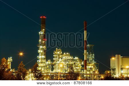 Night View Of The Refinery Petrochemical Plant