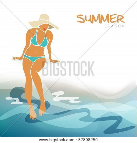 Summer Holiday, Vacation Card, Young Woman On The Beach, Vector