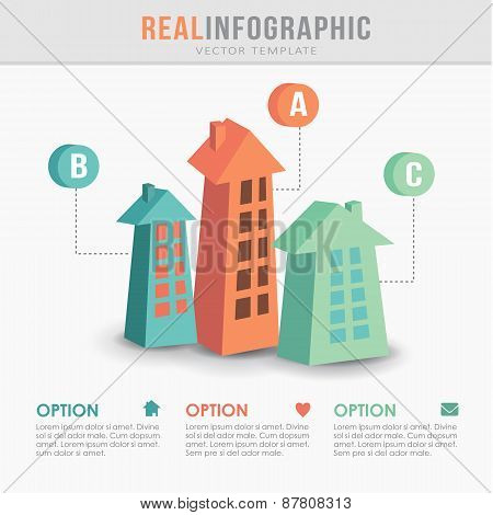 Real Estate Infographic Template, Flat Design, Vector