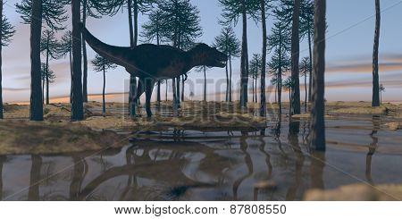 tarbosaurus walking in araucaria grove