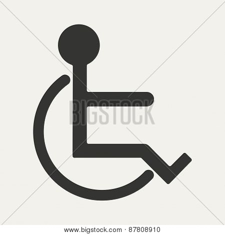 Flat in black and white mobile application wheelchair