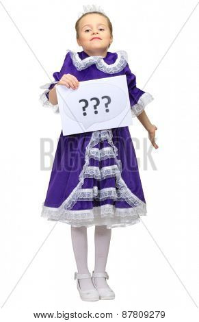 Little girl with question banner isolated