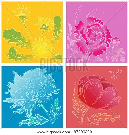a set of stylized handdrawn flowers