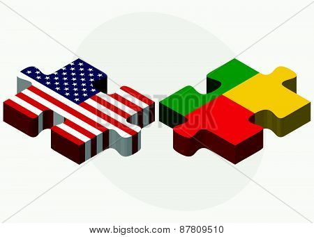Usa And Benin Flags In Puzzle