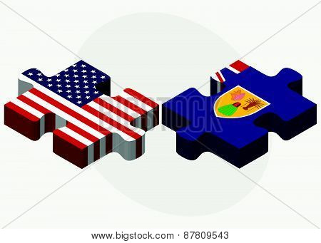 Usa And Turks And Caicos Islands Flags In Puzzle