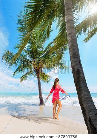 Beautiful woman on the beach in Koh Samui Thailand