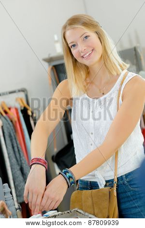 Woman trying on colourful bracelets