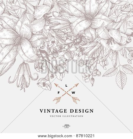 Vintage Floral Background with Engraving Flowers. Botanical Illustration with Roses, Lilies and othe