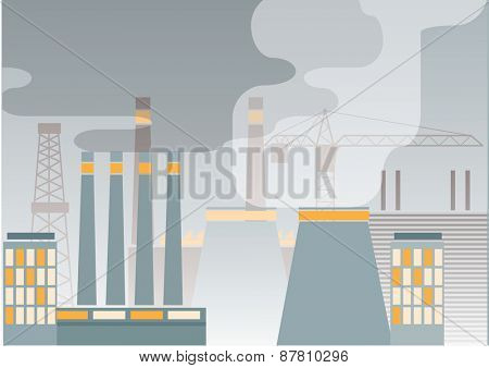 Industry concept:  plants with smokey sky. Vector illustration
