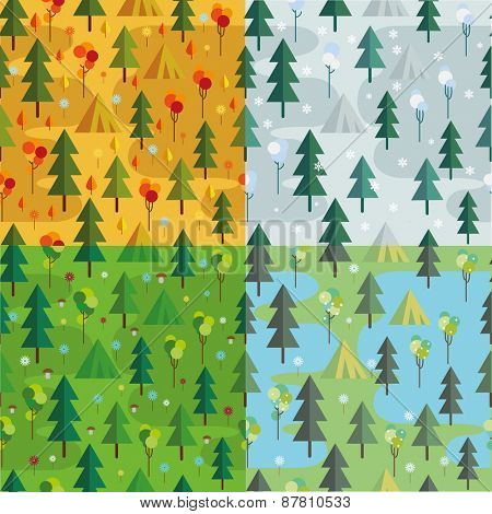 Set of Seamless  patterns. autumn, summer, spring and winter,