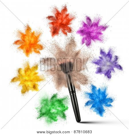 Make up brush with various powder explosion isolated on white background