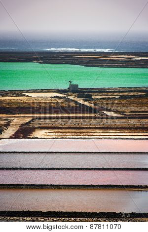 saltworks salinas de Janubio colorful on the island of Lanzarote, Canary Islands