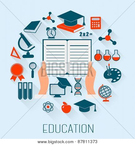Flat design concept icons for education. E-learning concept.