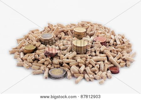 Euro Coins And Wood Pellets