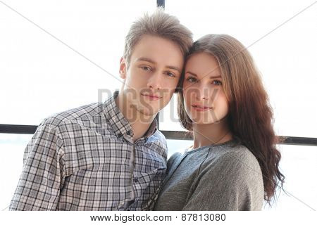 Love, relationship. Beautiful couple at home