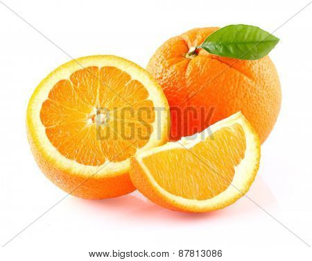 Orange fruit with leaf
