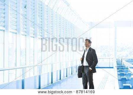 Asian Indian businessman at airport, business travel concept.