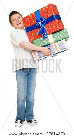 boy with stack of gift boxes