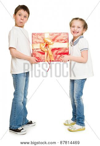 boy and girl with red gift box